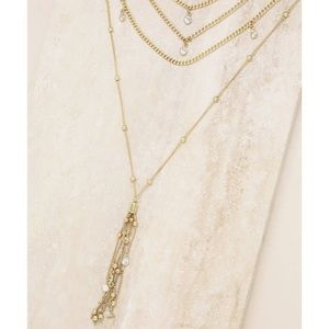 Ettika Layered Tassel 18k gold plated necklace